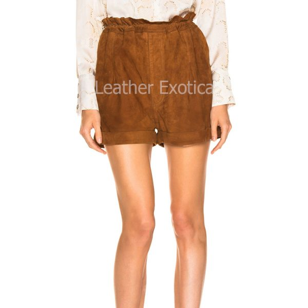 Suede Leather Paperbag Short For Women