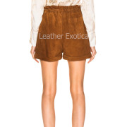 Suede Leather Paperbag Short For Women back
