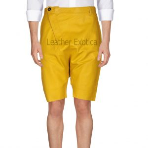 Trendy style Men Yellow Leather Shorts