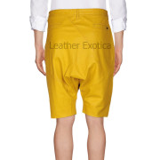 Trendy style Men Yellow Leather Shorts back