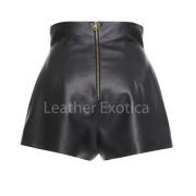 Zip Detailing High Waisted Mini Leather Shortsback