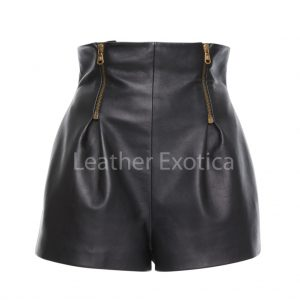 Zip detailing High Waisted Mini Leather Shorts