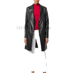 Classic Style Notch Collar Women Leather Coat