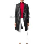 Classic Style Notch Collar Women Leather Coat