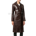 Front Button Closure Women Leather Trench Coat
