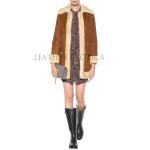 Faux Fur Collar Women Suede Leather Coat