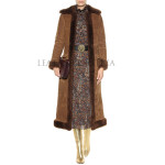 Faux Fur Collar Women Suede Trench Leather Coat