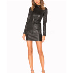 Belted Corporate Mini Women Leather Dress