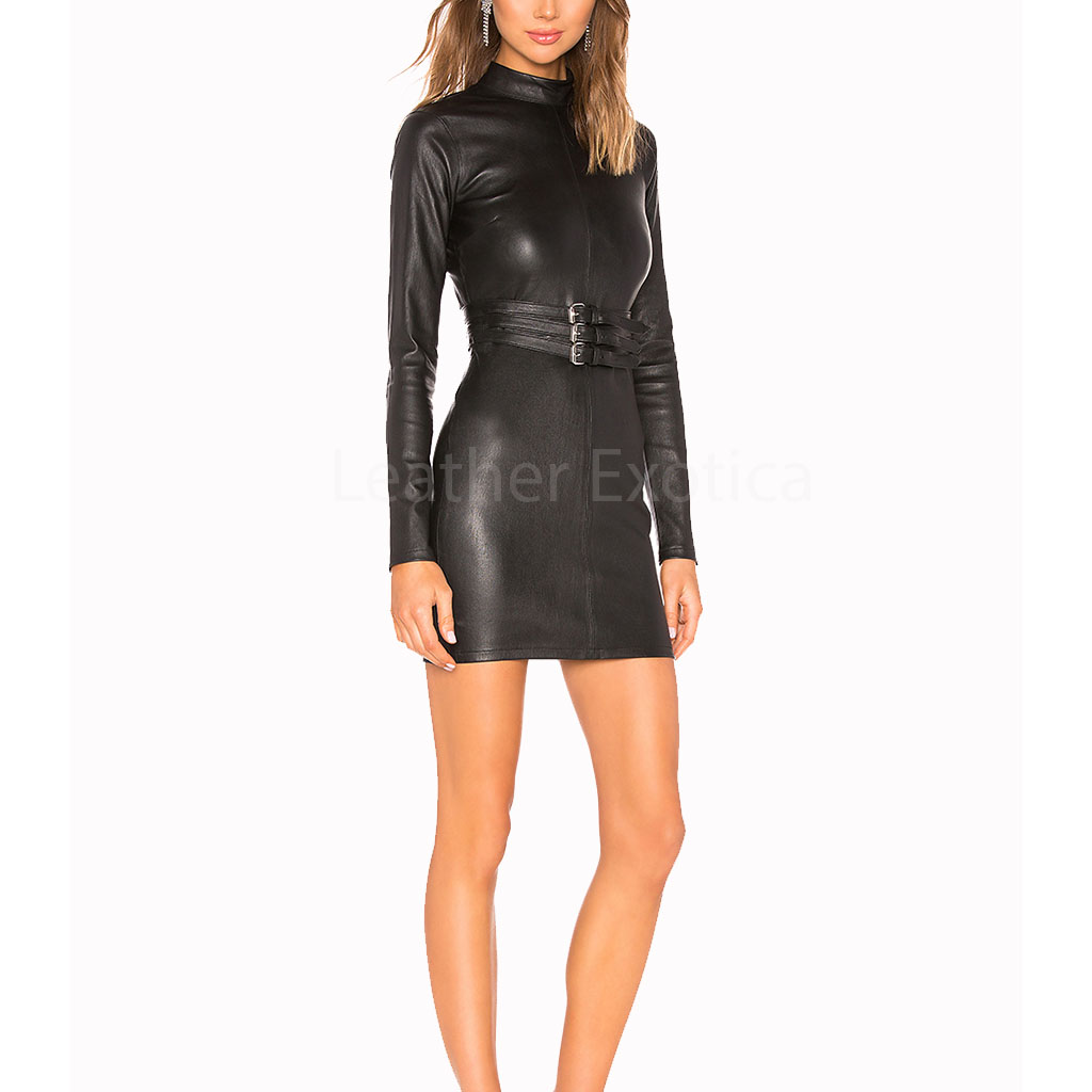 Belted Corporate Mini Women Leather Dress Leatherexotica