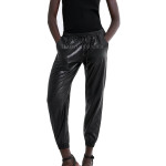 Drawstring Style Women Leather Jogging Pants
