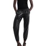 Drawstring Style Women Leather Jogging Pants