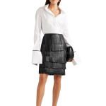 Fringed Detailing Women Mini Leather Skirt