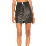 Front Zipper Mini Leather Skirt
