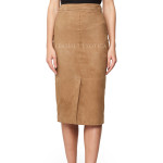 High-Waisted Suede Leather Pencil Skirt