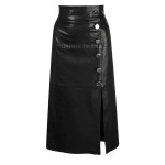 High Rise Women Leather Skirt