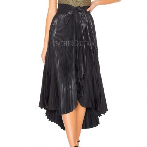 Knife Pleating Women High Low Leather Skirt