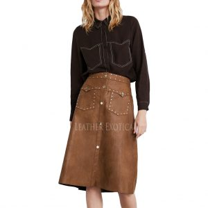 Studded And Patch Pocket Women Leather Skirt