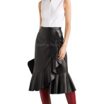 Wrap-Effect Ruffled Style Women Leather Skirt